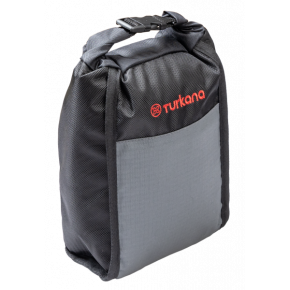 Turkana gear Bushbaby 3L accessory padded roll top pouch with MOLLE straps to be used on motorcycle soft luggage systems.