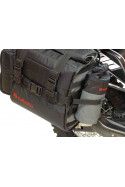Oxpecker Turkana bottle holder MOLLE PALS pouches used on different motorbike soft luggage bags. Easy access pouches.
