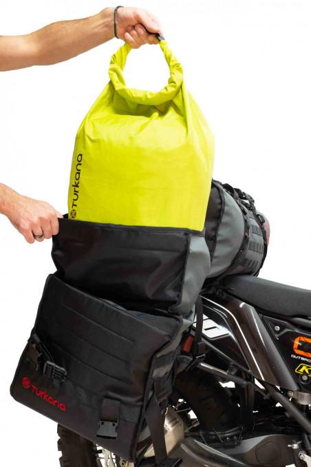 Gopher waterproof dustproof dry bags motorcycle adventures valuables. HippoHips soft luggage adventure panniers