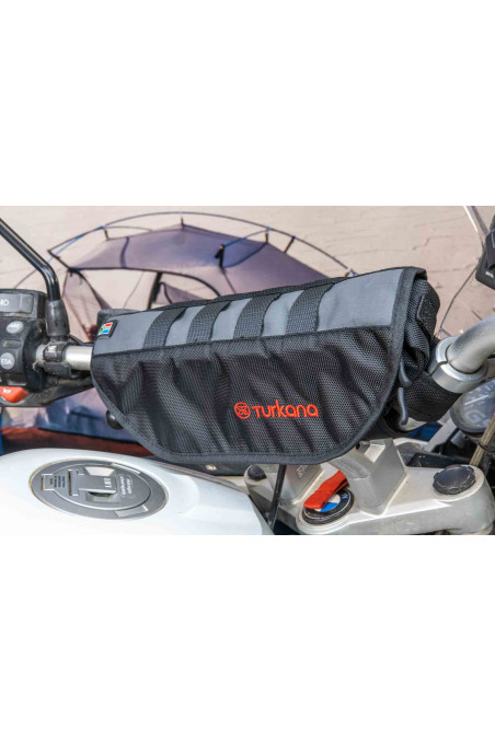 PelliPouch Turkanagear handle bar motorcycle, frame bag pouch valuable items easy access. Water resistant two pockets zippers